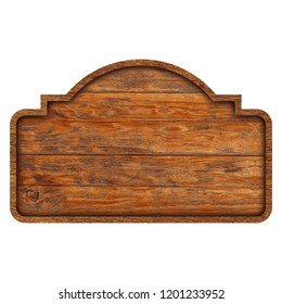 Wooden sign boards isolated on white background with objects clipping path for design work