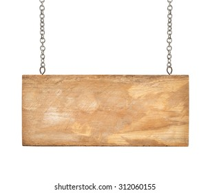 Wooden sign with chain isolated on white