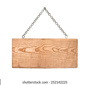 wooden sign with chain on white background