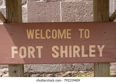 Wooden sign to Fort Shirley in Portsmouth, Dominica, Caribbean