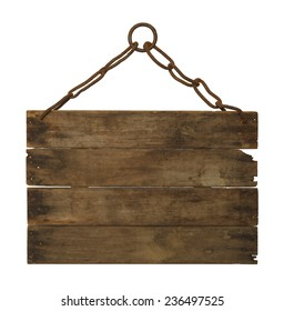 Wooden Sign hanging on Chain with Copy Space Isolated on White Background.