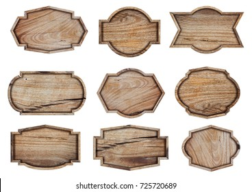 Wooden sign isolated on white background, With objects clipping path for design work