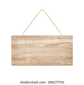wooden sign with lope isolated on white