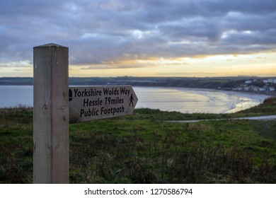 Wooden Sign Marking the Beginning and End of the Wolds Way, Filey, Yorkshire UK