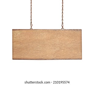 wooden sign on the chains