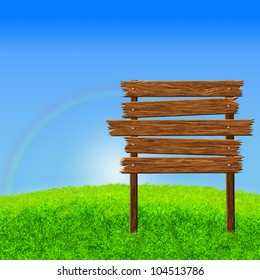 Wooden sign on the green grass background, computer graphic