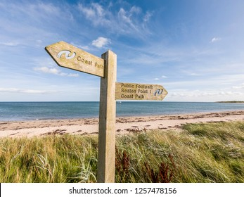 Wooden Sign Post For The Northumberland Coast Path At Boulmer, Northumberland
