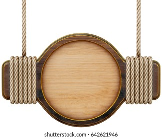 Wooden sign with rope hanging on a nail. Isolated on white background. 3d rendering.