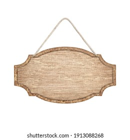 wooden sign with rope isolated on white with clipping path