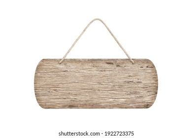 wooden sign with rope isolated on white , clipping path included.