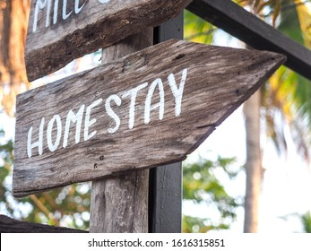 """The wooden sign says """"Homestay"""" means One form of tourism, which is ecotourism. It tells the way to the homestay."""