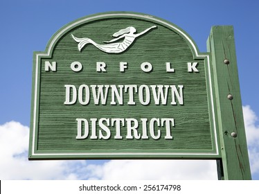 The wooden sign showing the beginning of Norfolk downtown (West Virginia).