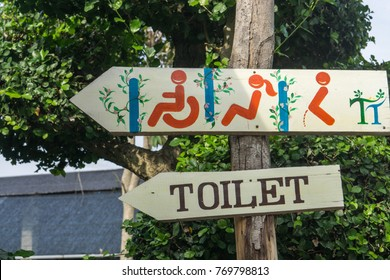 Wooden sign toilet restroom male and female and handicap with arrow show direction on nature background., holiday concept.