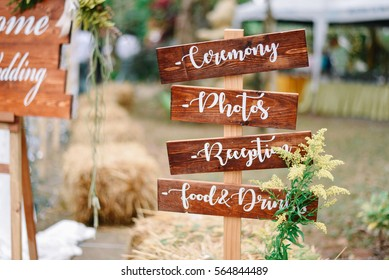 wooden sign in wedding ceremony