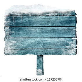 Wooden sign in winter with copyspace. Frozen wood sign with snow, ice and crystals. Space for your text.