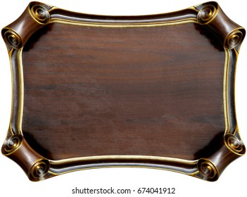 Wooden signboard with brown wooden frame. isolated on white. 3d rendering.