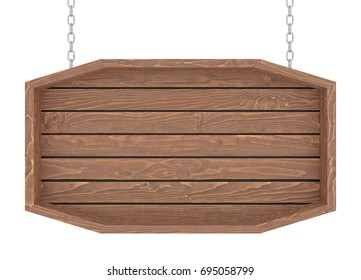 Wooden signboard with chain on white background. 3d render.