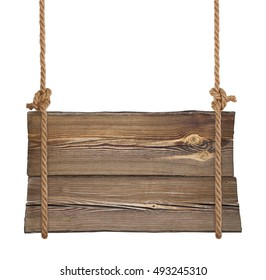 Wooden signboard hanging on ropes isolated on white