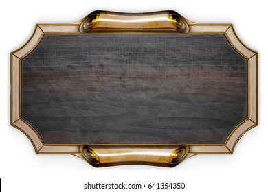 Wooden signboard on metal frame isolated on white. 3d rendering.