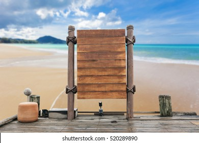 wooden signboard and wood floor on beach for summer background