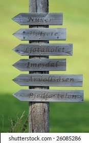 Wooden signpost with the burned names on green nature background
