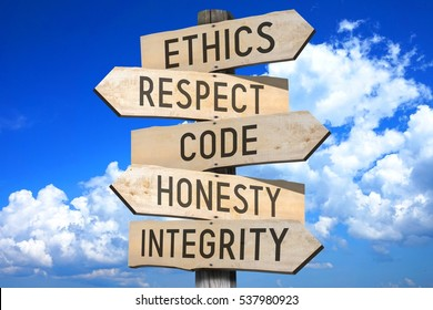 Wooden signpost - code of conduct (ethics, respect, code, honesty, integrity).