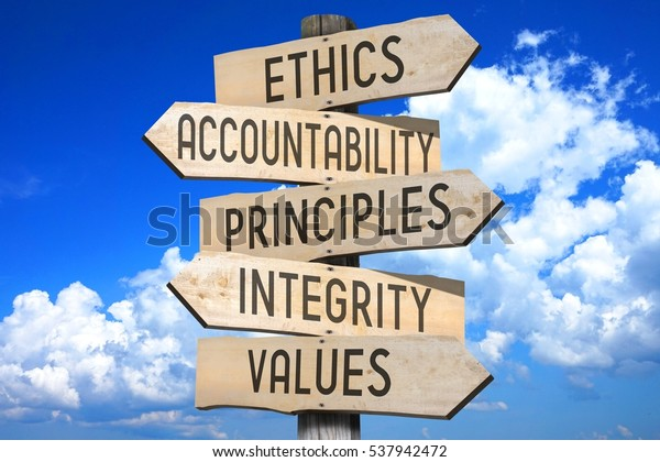 Wooden signpost - code of ethics concept (ethics, accountability, principles, integrity, values).