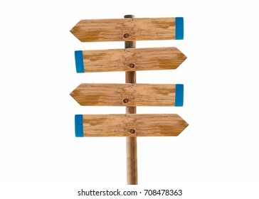 wooden signpost in the meadow with copyspace isolated cutout on white background
