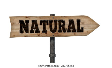 Wooden signpost - natural - sign on a white background