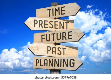 "Wooden signpost - time concept - ""time, present, future, past, planning""."