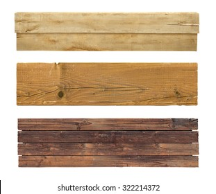 Wooden signs collection isolated on white background