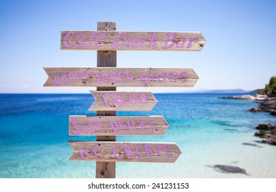 Wooden signs on the beach