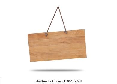 Wooden singboard hanging on rope