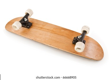 Wooden skateboard deck isolated on white.