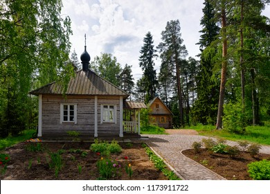 Wooden skete in the Valaam island, Karelia in Russia