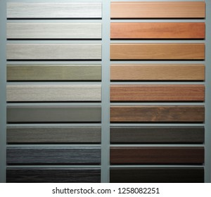 Wooden skirting board samples for different types of floor.