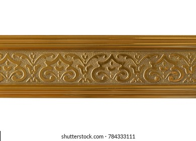 Wooden skirting boards isolated on white background clipping path.
