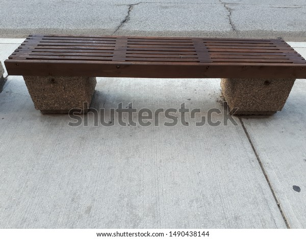 Marvelous Wooden Slat Bench On Sidewalk Parks Outdoor Objects Stock Creativecarmelina Interior Chair Design Creativecarmelinacom