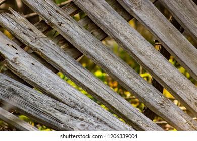 wooden slats diagonally.wooden fence slats