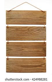 wooden slats menu board isolated