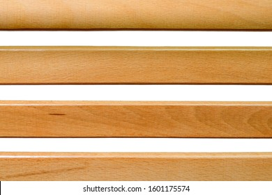 Wooden slats on a white background.