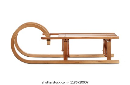 Wooden sledge isolated on white background.