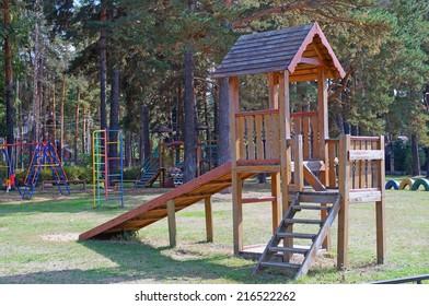 Wooden slide on playground