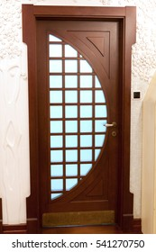 wooden sliding door with frosted glass