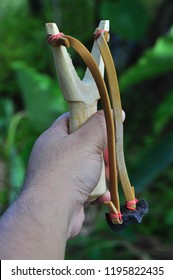 Wooden slingshot as memories