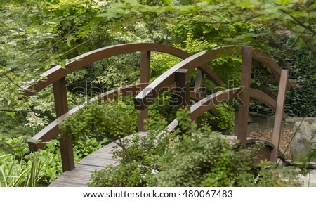 Wooden Small Bridge In A Japanese Style Garden.