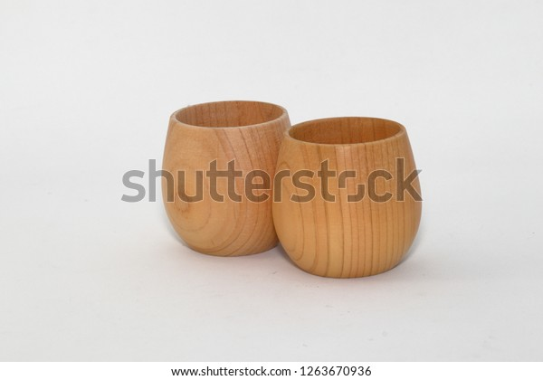Wooden Small Water Cups Isolated On Stock Photo Edit Now 1263670936