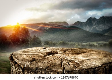 Wooden space for your decorationa and autumn landscape of mountains.