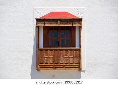 Wooden spanish balcony. Playa Blanca, Canary Islands, Spain