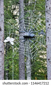 Wooden spider with butterfly